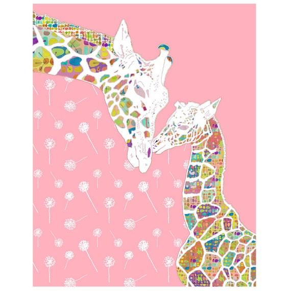 giraffe nursery art, baby girl nursery decor, giraffe print, baby nursery decor, kids wall art baby decor, giraffe art, nursery wall art