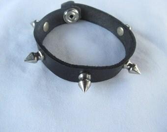 Spike Collar Leather Bracelet Spike Leather Bracelet  BDSM
