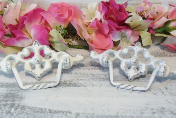 2 Metal Knobs / Drawer Pull Handles for Furniture Dressers and Cabinets Shabby Chic Cottage Style FREE SHIPPING