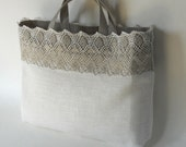 Reserved linen tote bags with lace and embroidery