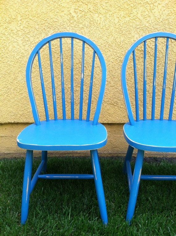 set of 2 vintage spindle chairs shabby chic by thepaintedldy