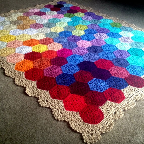 "BabyLove Brand Geometric Lace Blanket/Afghan, handmade crochet beautiful color/size throw - custom order - 48""x48"""