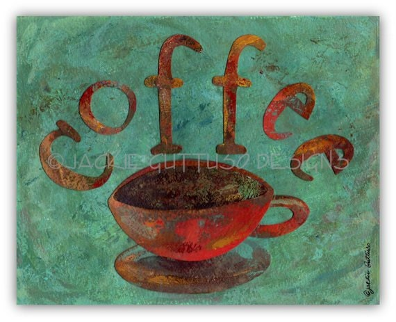 Coffee art, Original collage, Coffee painting, Modern kitchen art, Coffee wall art, OOAK Coffee decor, Original coffee cup art