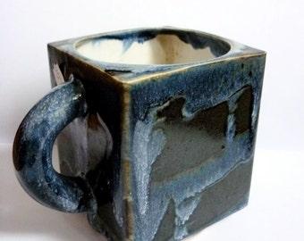 Pure Eighties Exuberance / Finnish Studio Pottery / Square Mug / 1980s Finland