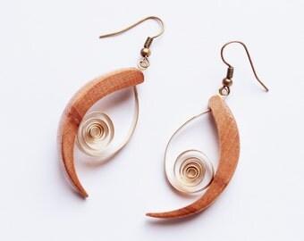 Wood and brass earrings  summer light swirl earrings