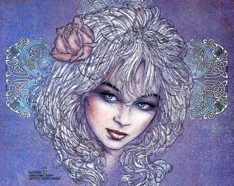 "Irish Fantasy Art Goddess LIBAN 8x11"".Celtic, Irish, Ireland, Fine Art Print, Goddess, Witch, Wizard, Witchcraft, Sexy."