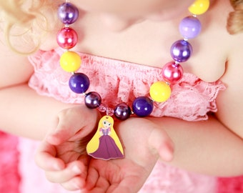 Disney Princess Rapunzel Inspired Chunky Bubblegum Bead Necklace- Baby Girl Necklace- Toddler Girl Necklace- Kids Jewelry