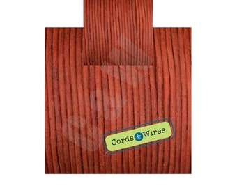 CW02305 Red - 2 meters x 2mm Dyed Coulour Round Leather Cord