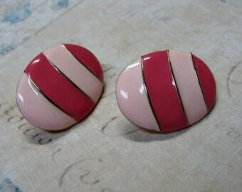 Vintage Clip On Earrings Enamel Pink Stripe