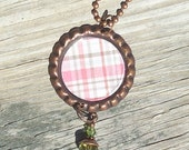 Pink, Brown and Gray Plaid Bottle Cap Charm Necklace