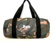 Camouflage Custom Made Duffle Bag, CAMO CORDURA CANVAS, Embroidered with your Name or Initials