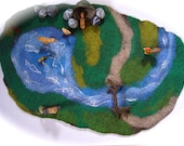 XXL Playscape Play-mat  Landscape  Floor-mat    Wet Felted. Waldorf.
