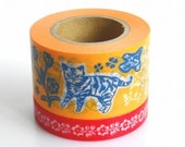 Mark's (Chat-chien par Nathalie Lete) Orange 2rolls: Japanese washi masking tape - kawaii collage scrapbooking deco