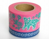 Mark's (Chat-chien par Nathalie Lete) Pink 2rolls: Japanese washi masking tape - kawaii collage scrapbooking deco
