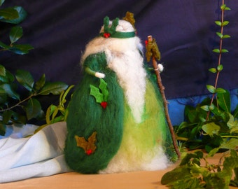 Dry needle felted Holly King