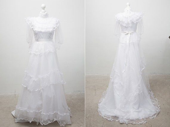 1980's White Wedding Dress with Sheer High Neck and Sleeves / Quarter Long Sleeves / Size M
