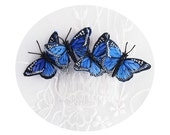"""Blue Butterfly Comb-Hair Accessory-Whimsical Butterfly Comb-""""Butterfly Blue"""""""