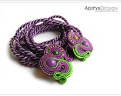 CHRISTMAS SALE, Soutache Earrings, Purple Green, Handmade Jewelry, Lightweight Earrings