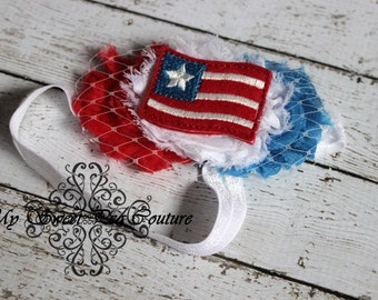 Patriot - Red, White & Blue triple Shabby Flower Headband