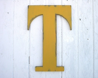 "Wooden Letters T 18"" Rustic Shabby chic Dorm decor Distressed Wood Initial Cabin Cottage Decor Guest book signage"