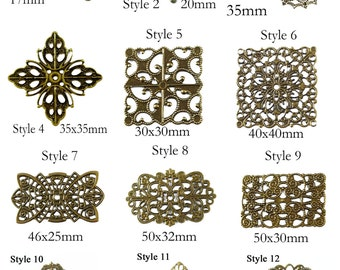 Antique Bronze Filigree Patch Connectors - Choose Style - DIY Jewelry & Crafts