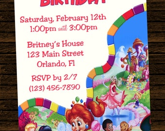 Custom Candyland Birthday Party Invitations - DIY Printable File