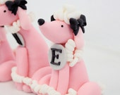 POODLE fondant cake topper with LETTER collar for a Paris, Birthday, or French wedding shower