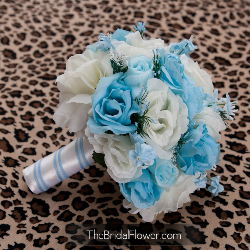 Cream And Light Blue Bridal Bouquet Something Blue Vintage