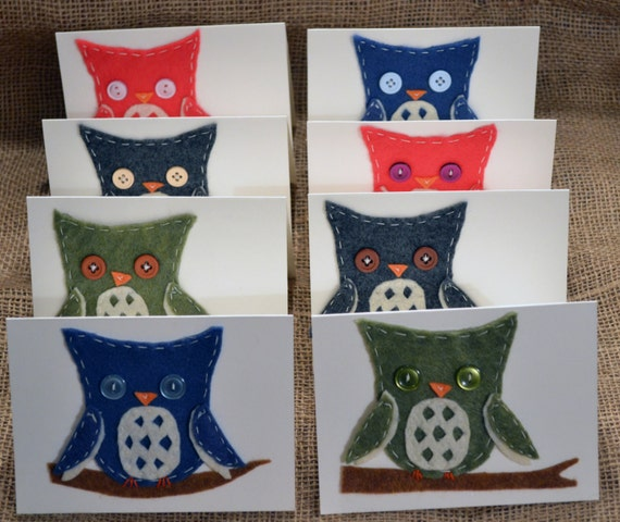 Set of 8 Blank Felt Owl Note Cards