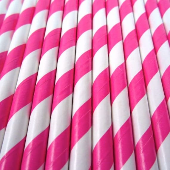 Hot Pink Polka Dot Paper Drinking Straws 500pcs