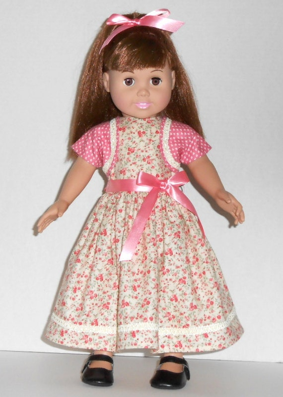 American Girl Doll Dress Shrug Mauve Flowers Hearts