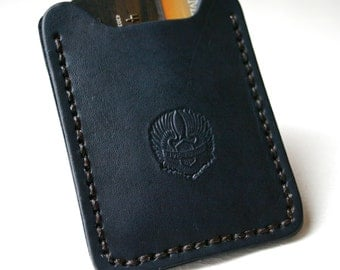 Flip Clip. Live to Ride stamped Mens leather wallet with money clip