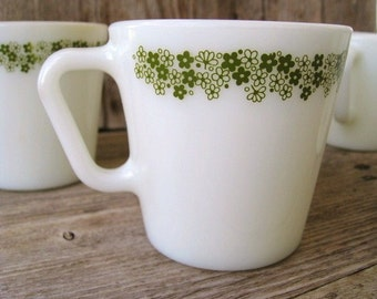 Vintage Pyrex Coffee Mugs, Kitchen Mugs, White Milk Glass Cups, Spring Blossom Green Floral Border Pattern, 1970s Tea Mugs, Retro Kitchen