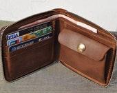 Genuine Leather wallet -Men bifold  wallet-purce-coins wallet--zipper wallet