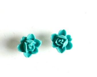 Aqua Rose Stud Earrings resin aqua post earrings Handmade Gift