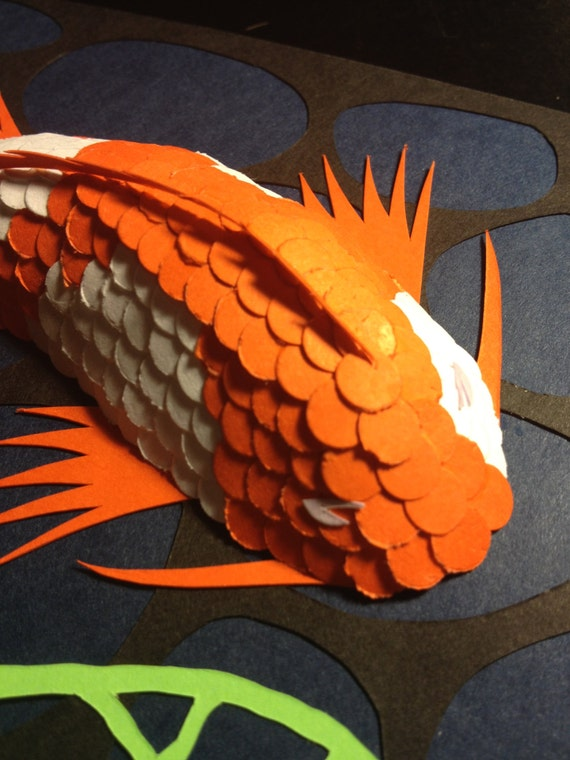 3D paper cut art Koi Fish Orange