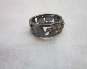 Vintage Cut to Shine Sterling Silver  Flower & Leaf Ring  Pretty