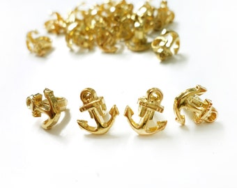 30 Nautical Golden Anchor Small Plastic with Metal Look Buttons in Vintage Look
