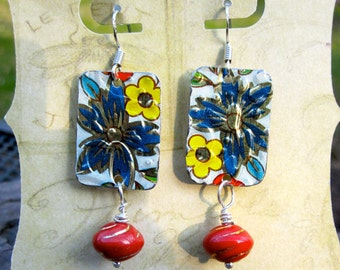 Gypsy Soul Summertime Blues Vintage Tin Earrings