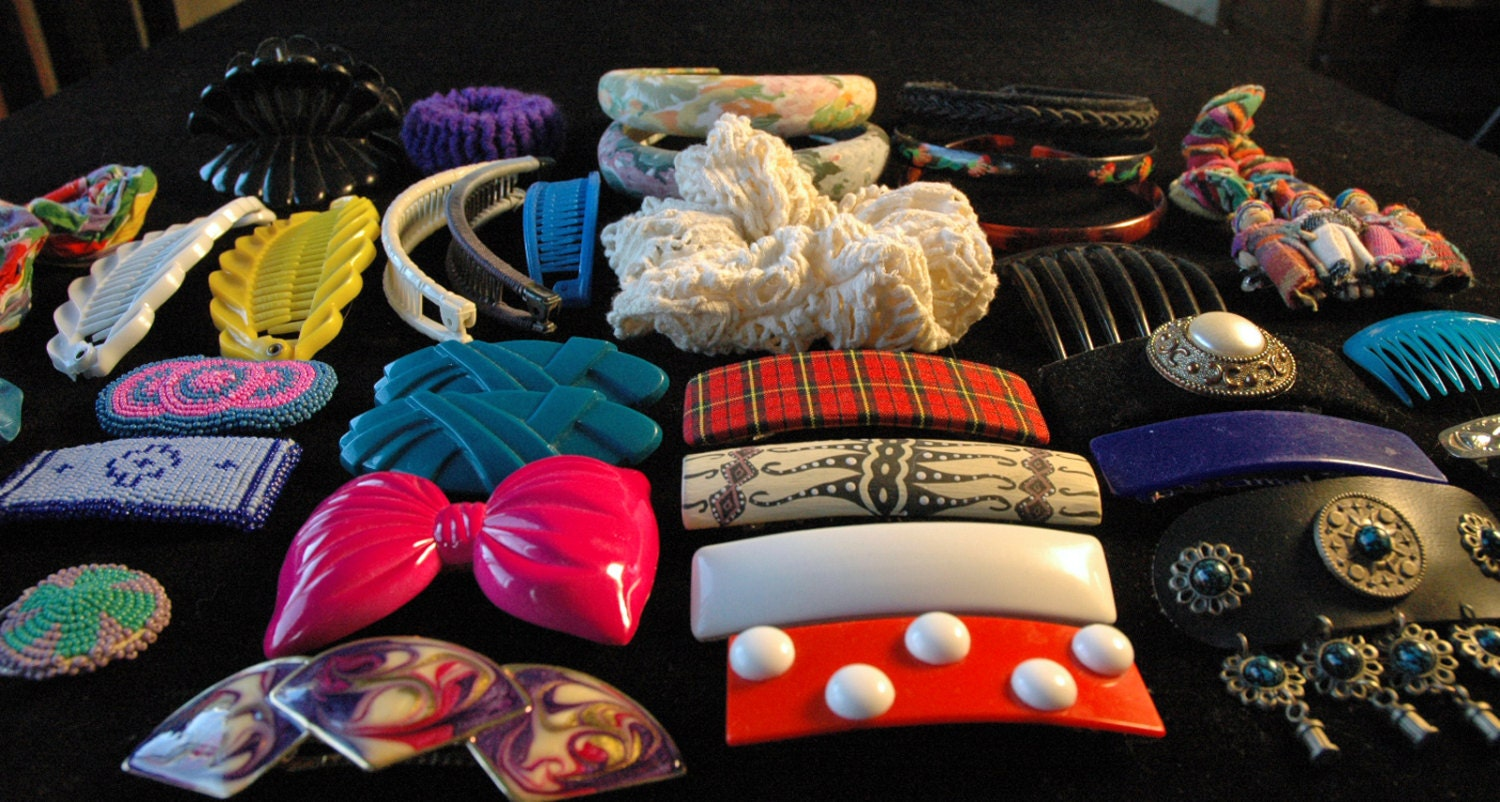 Vintage 80s Hair Accessories Barrettes by PerpetualVintage on Etsy