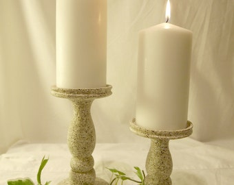 Stone Pebble Lathe-turned Wood Pillar candle holders set of 2 - MADE IN USA