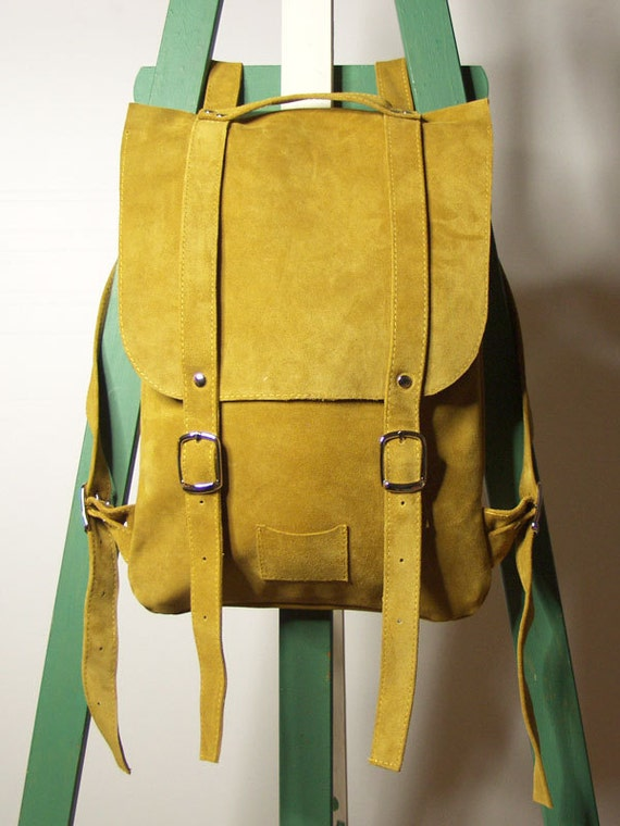 Goldenrod/curry leather backpack rucksack / To order