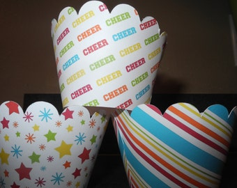 Celebration Cheer Cupcake Wrappers  Set of 12