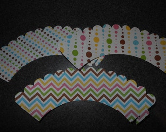 Chevron Cupcake Wrapper  Hearts Polka Dots    Set of 12