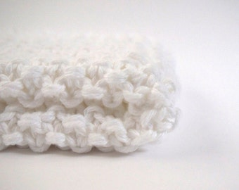 hand knit plushy cotton washcloth in snow white
