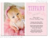 Printable Girl Birthday Invitation - Printable Birthday Girl Princess Invite Pink Polka Dot Lace Shabby Chic Cute Elegant - No.40