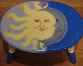 Hand Painted Sun Moon Stars Step Stool