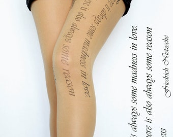 Art Text Tattoo Tights Pantyhose , Beige Color , Print tattoo Leggings , Tattoo Tights , Handmade Pantyhose