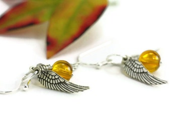 Golden Topaz Wing Earrings, Fantasy Magical Quirky Whimsical Storybook Wizard Fairy Tales Magic Flying Whimsy Jewelry