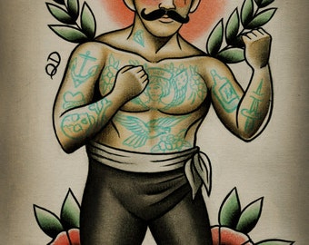 Mama Tried Boxer Tattoo Print